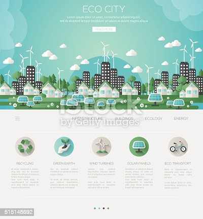 Green eco city and sustainable architecture banner. Vector illustration. Buildings with solar panels and windmills. One page web design template with flat eco icons. Concept of Eco Technology.
