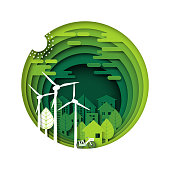 Green eco city and urban forest paper cut layer