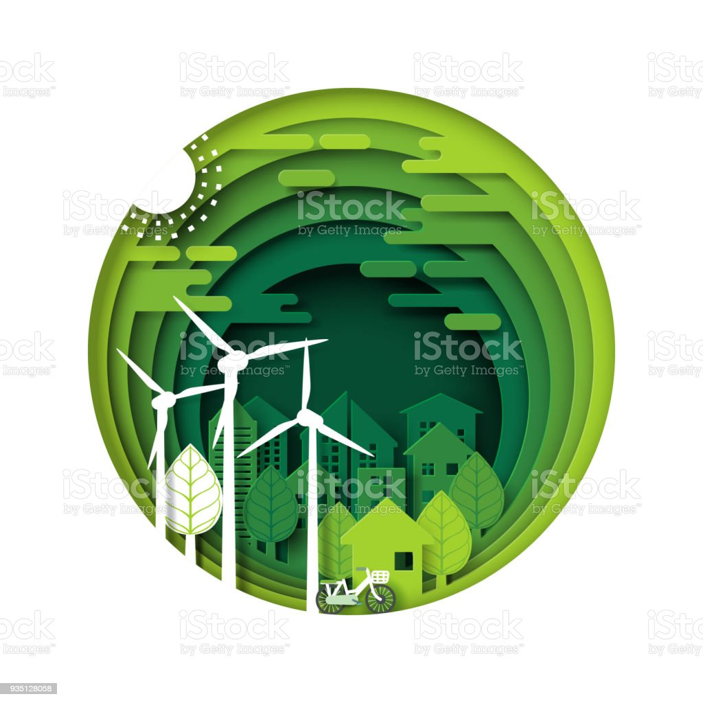 Green eco city and urban forest paper cut layer vector art illustration