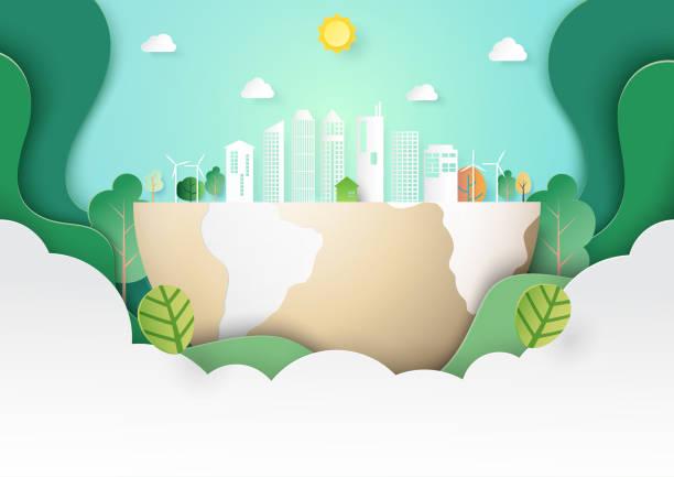 Green eco city landscape template paper art style vector art illustration