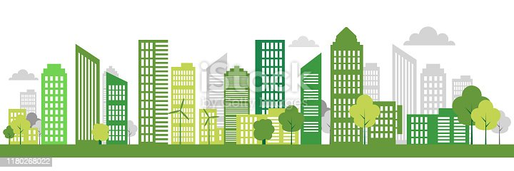 istock Green Eco city living concept. Vector illustration. Green city, wind turbine vector illustration 1180268022