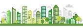 istock Green Eco city living concept. Vector illustration. Green city, wind turbine vector illustration 1180268022