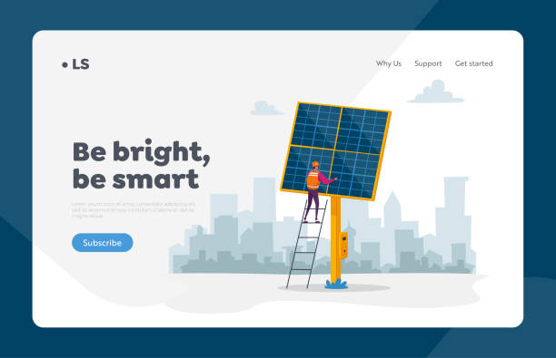 ilustrações de stock, clip art, desenhos animados e ícones de green eco city technology landing page template. worker character stand on ladder at solar panel on cityscape. people use sunlight for producing electric energy and heat. cartoon vector illustration - solar panel