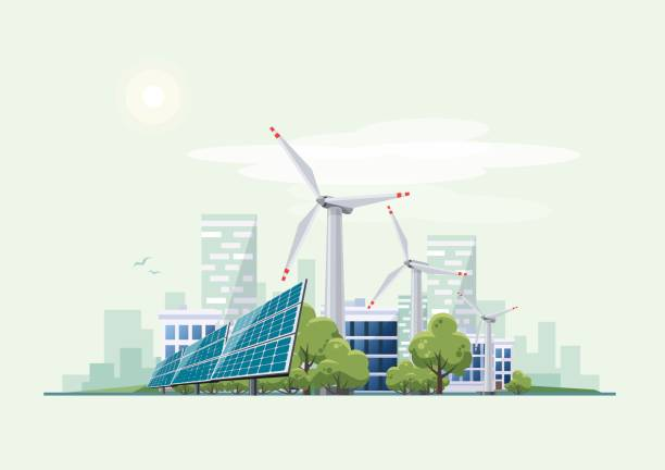 Green Eco City Urban with Solar Panels and Wind Turbines Solar panels and wind turbines in front of the city skyline in the background. Eco green city theme. Ecological sustainable energy supply. sustainable energy stock illustrations