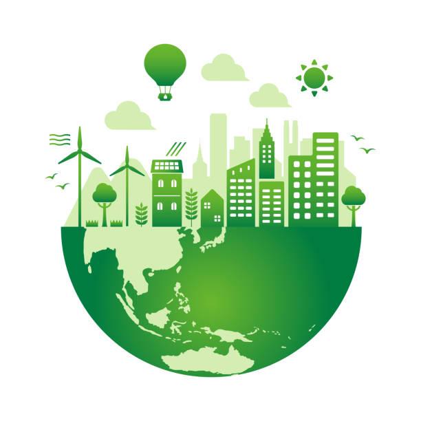 グリーンエコシティベクトルイラストレーション (エコロジーコンセプト 、 自然保護 ) / テキストなし - 地球 日本点のイラスト素材/クリップアート素材/マンガ素材/アイコン素材