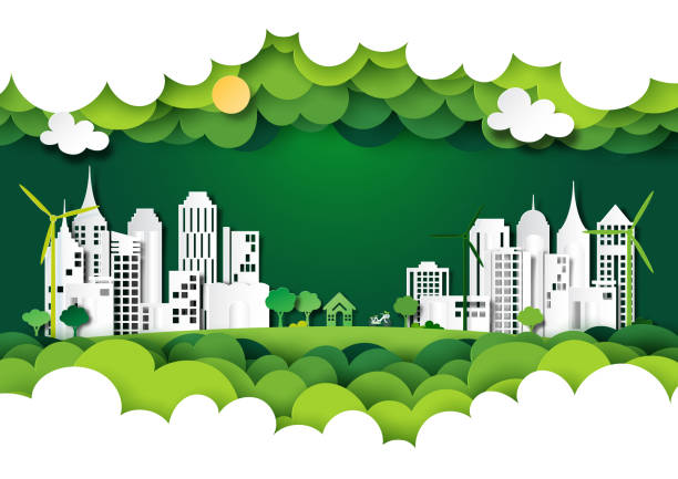 Green eco city with nature landscape background layers paper art style. vector art illustration