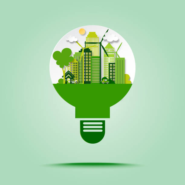 Green eco city with save energy and recycle concept in light bulb paper art style. vector art illustration