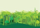 Green eco cityscape abstract paper cut background.Paper art style of nature and environment concept design.Vector illustration.