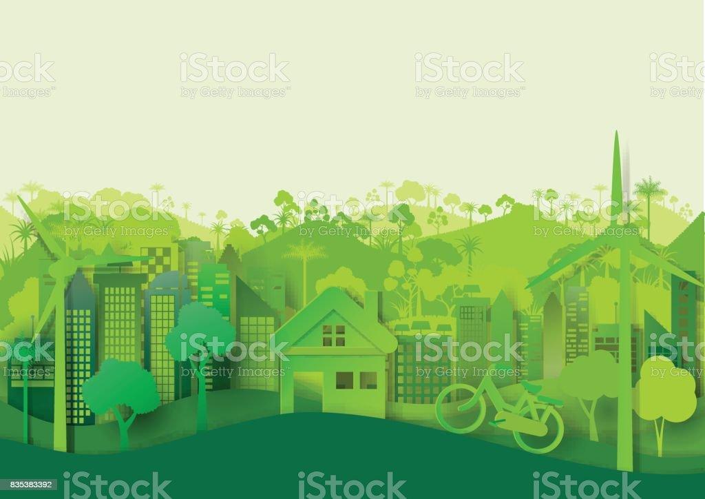 Fundo de paisagem urbana de eco verde - ilustração de arte em vetor