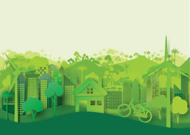 grüne, umweltfreundliche stadtbild hintergrund - umweltkonzept stock-grafiken, -clipart, -cartoons und -symbole