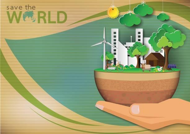 Green Eco concept background. vector art illustration