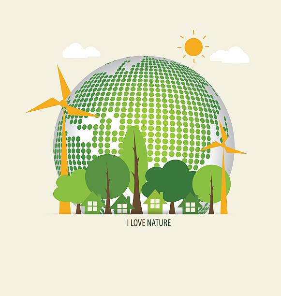 Grüne Öko-Umwelt und Grüne Erde mit Bäumen. Vektor-Illustration – Vektorgrafik