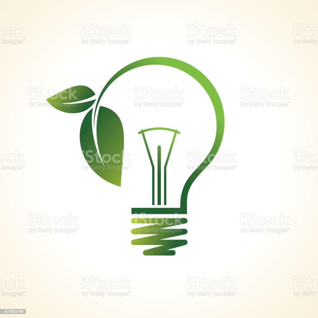 green eco energy concept, plant growing inside the light bulb vector art illustration