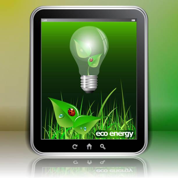 green eco energy, mobilität-light bulb concept design - tablet mit displayinhalt stock-grafiken, -clipart, -cartoons und -symbole