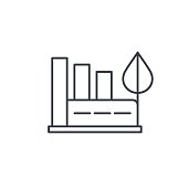 green eco factory building, manufacture whith wind turbines thin line icon. Linear vector symbol