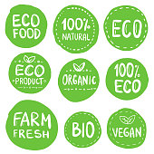 Green Eco Food Labels. Health Headings. Hand Drawn Vector Illustration Collection.