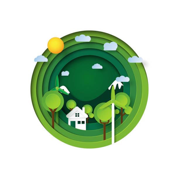 green eco freundliche papier schnitzen hintergrund - umweltkonzept stock-grafiken, -clipart, -cartoons und -symbole