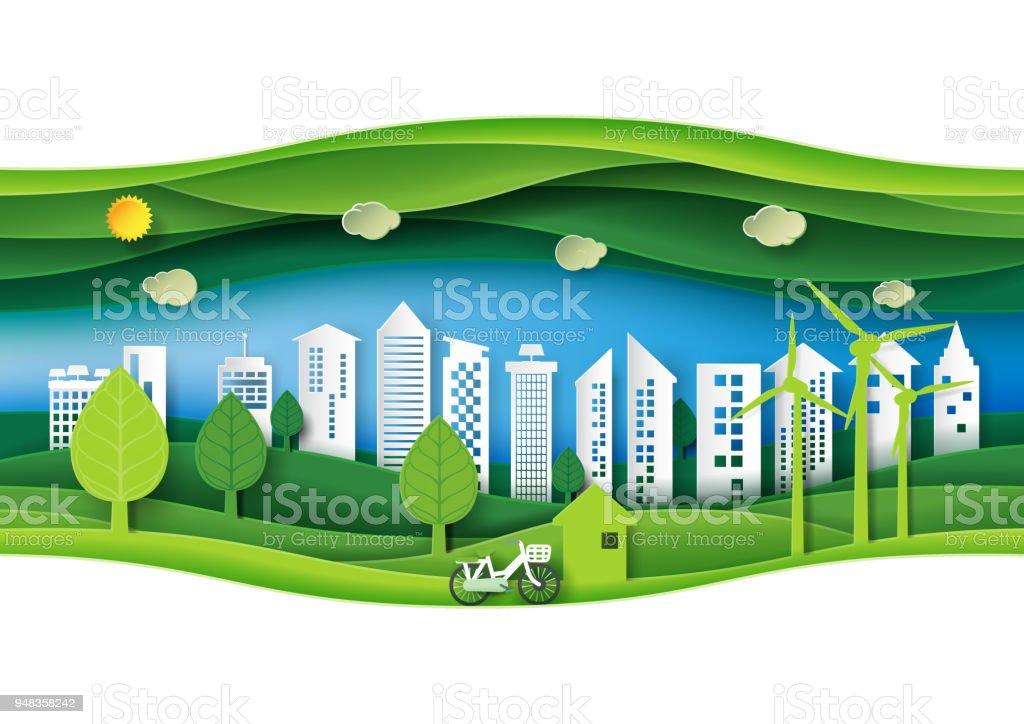 Ilustración de Verde Respetuoso Del Medio Ambiente Urbano Bosque Con ...