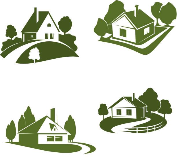 illustrazioni stock, clip art, cartoni animati e icone di tendenza di green eco house icon for real estate design - real life