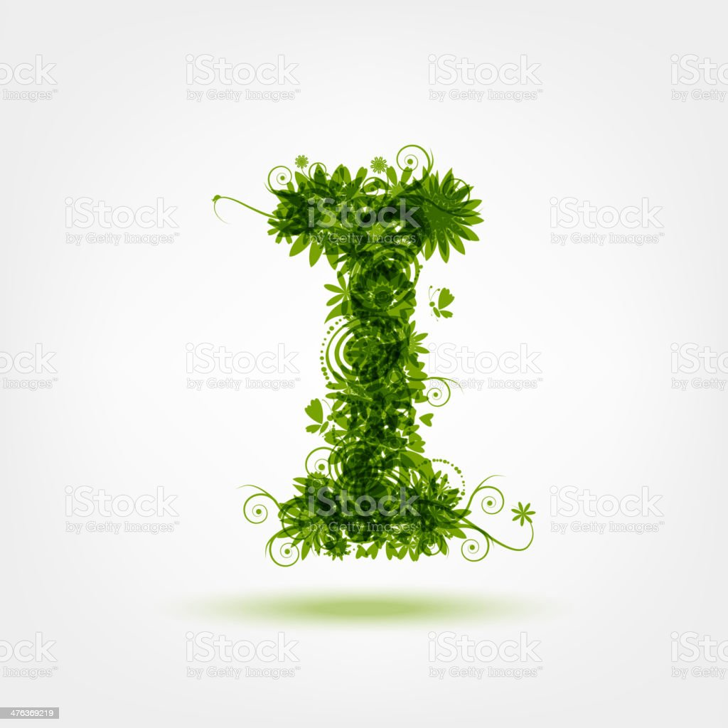 Green eco letter I for your design royalty-free green eco letter i for your design stock vector art & more images of alphabet