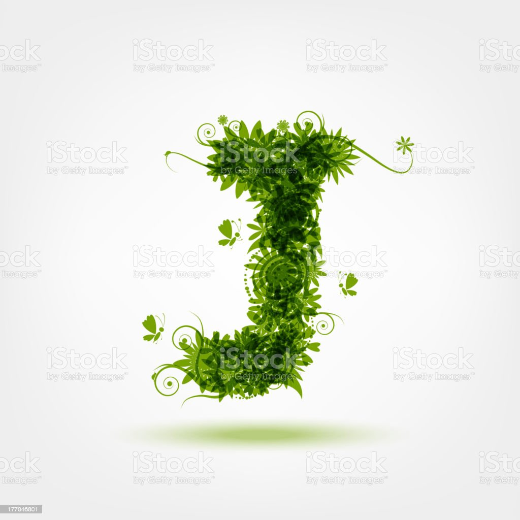 Green eco letter J for your design royalty-free stock vector art