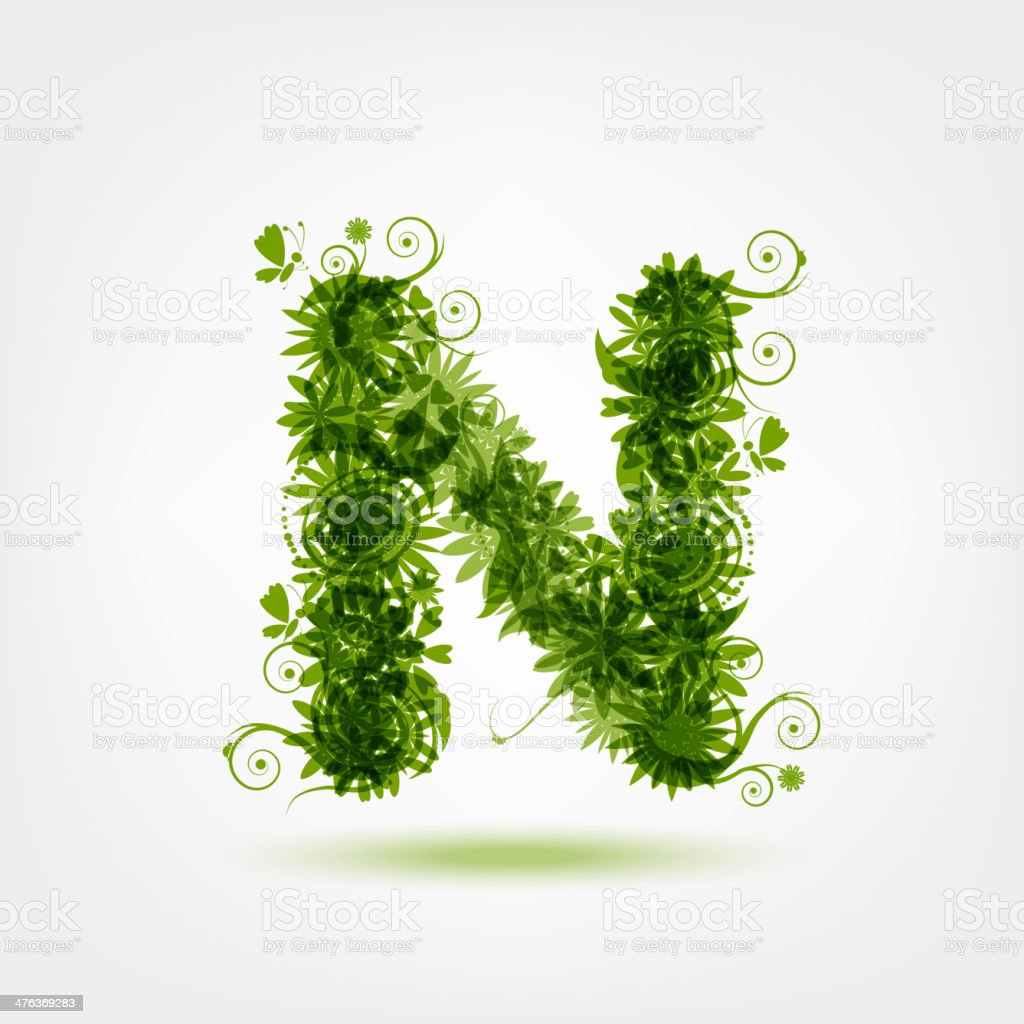 Green eco letter N for your design royalty-free stock vector art