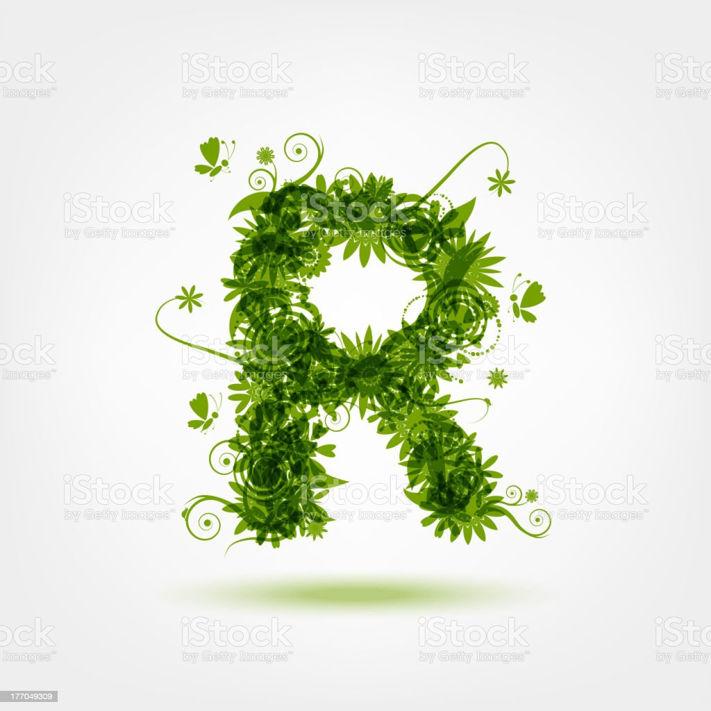 Green eco letter R for your design royalty-free stock vector art