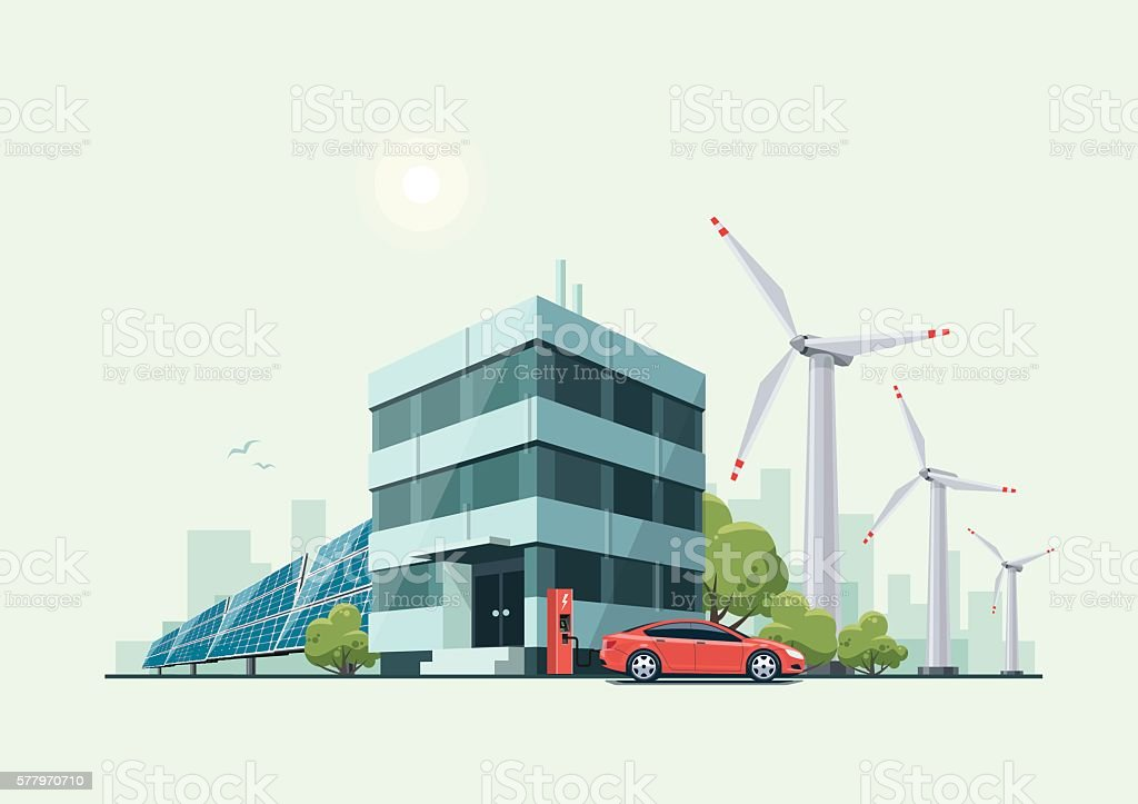 Green Eco Office Building with Electric Car Solar Panels Windmills vector art illustration