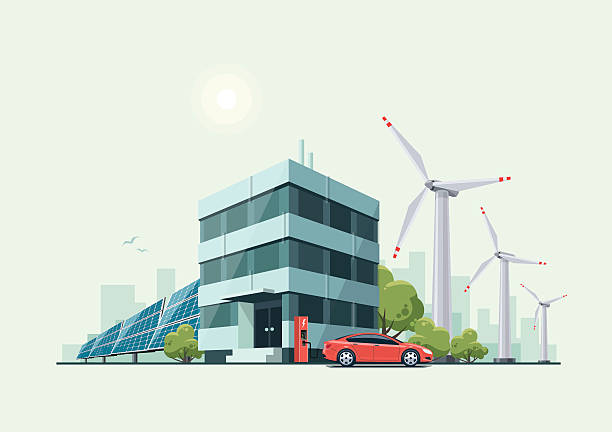 Green Eco Office Building with Electric Car Solar Panels Windmills Vector illustration of modern green eco business office building with green trees and electric car charging in front of the workplace in cartoon style. Solar panels and wind turbines are int the background. solar panels illustrations stock illustrations