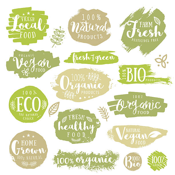 Green, eco, organic, vegan, natural, farm fresh, food, healthy labels Set of  of Hand drawn 100%, bio, labels. Vector restaurant or product package design. organic stock illustrations