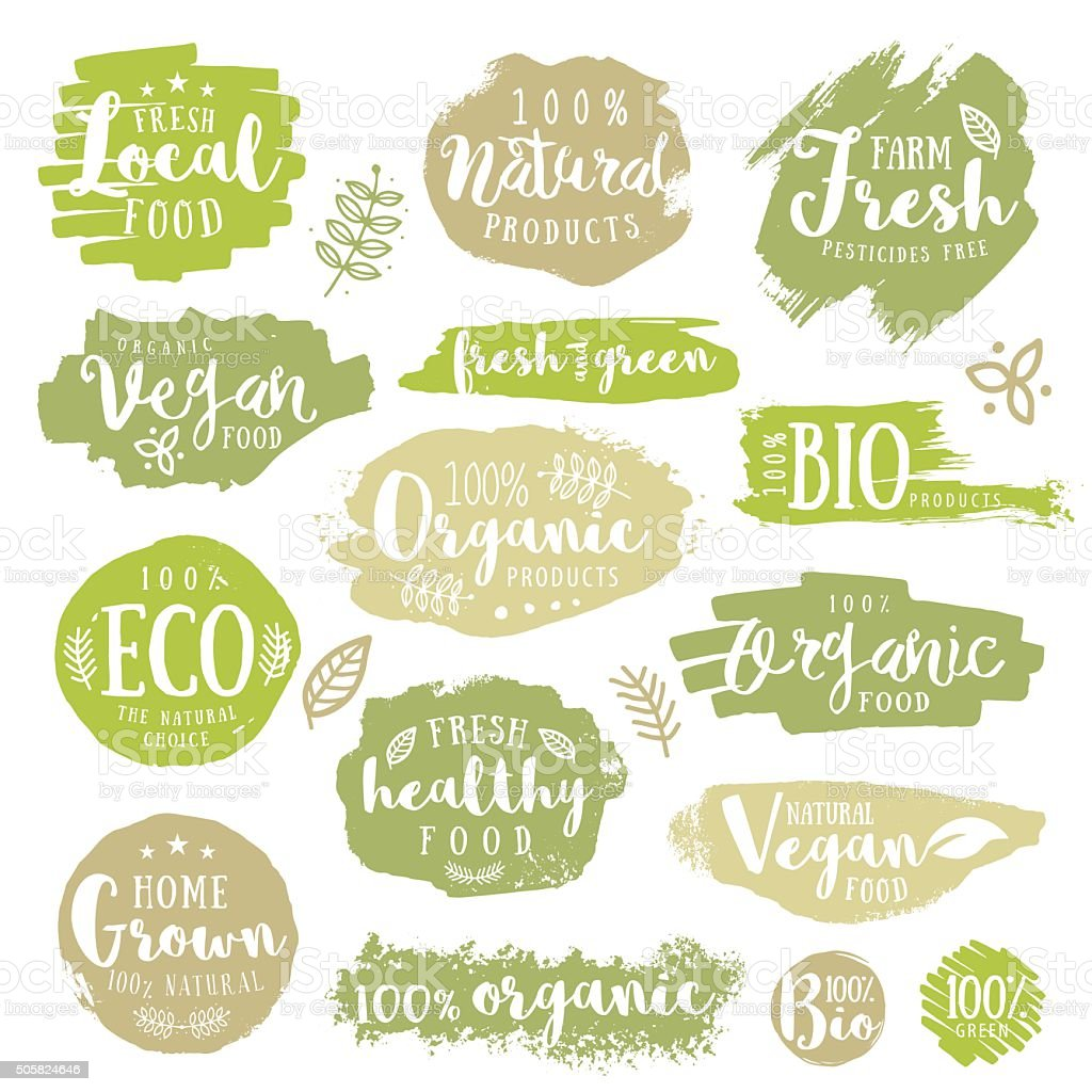 Green, eco, organic, vegan, natural, farm fresh, food, healthy labels vector art illustration