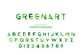 Green Eco original bold font alphabet letters and numbers for creative design template. Flat illustration EPS10.