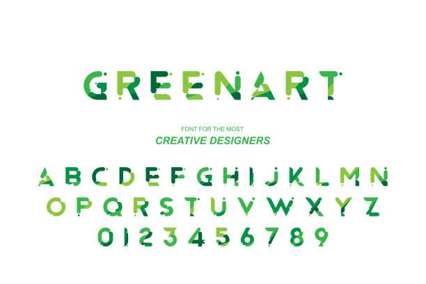 綠色生態原始粗體字體字母表字母和數位的創意設計範本。平面插圖 eps10 - 大自然 幅插畫檔、美工圖案、卡通及圖標