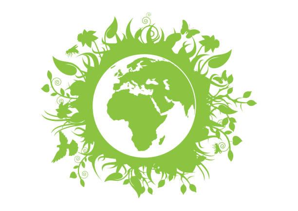 bildbanksillustrationer, clip art samt tecknat material och ikoner med grön eko planet jord vektor - biologisk mångfald
