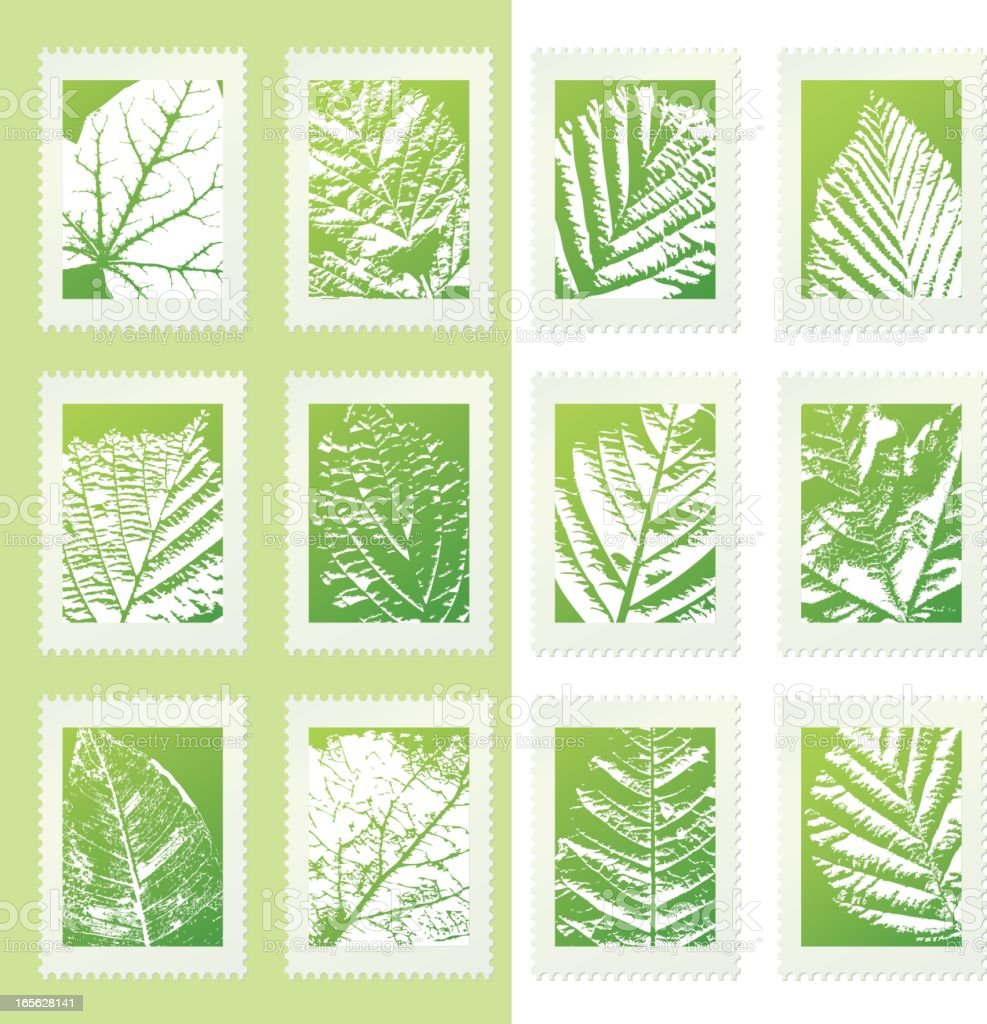 Green Eco Postage Stamps with Leaves Set royalty-free stock vector art