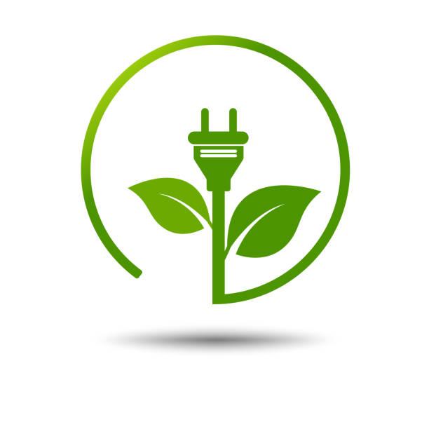 Green eco power plug design with Green earth, vector illustration vector art illustration