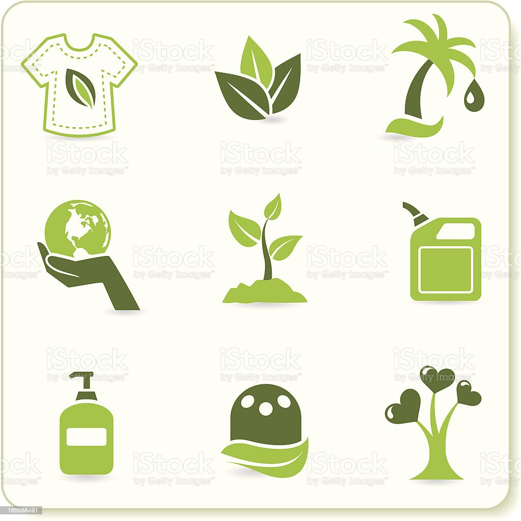 Green Eco Symbols vector art illustration