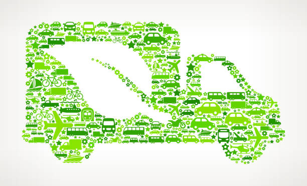 Green Eco Truck On Transportation royalty free vector art Pattern Green Eco Truck on royalty free vector Transportation interface icon Pattern. The pattern features vector interface icons on white Background: car, truck airplane, motorcycle, bus, taxi, helicopter, ship, van, bicycle and other transportation vehicles. interface icons can be used separately for app icons and internet buttons. Icon download includes vector art and jpg file. pattern stock illustrations