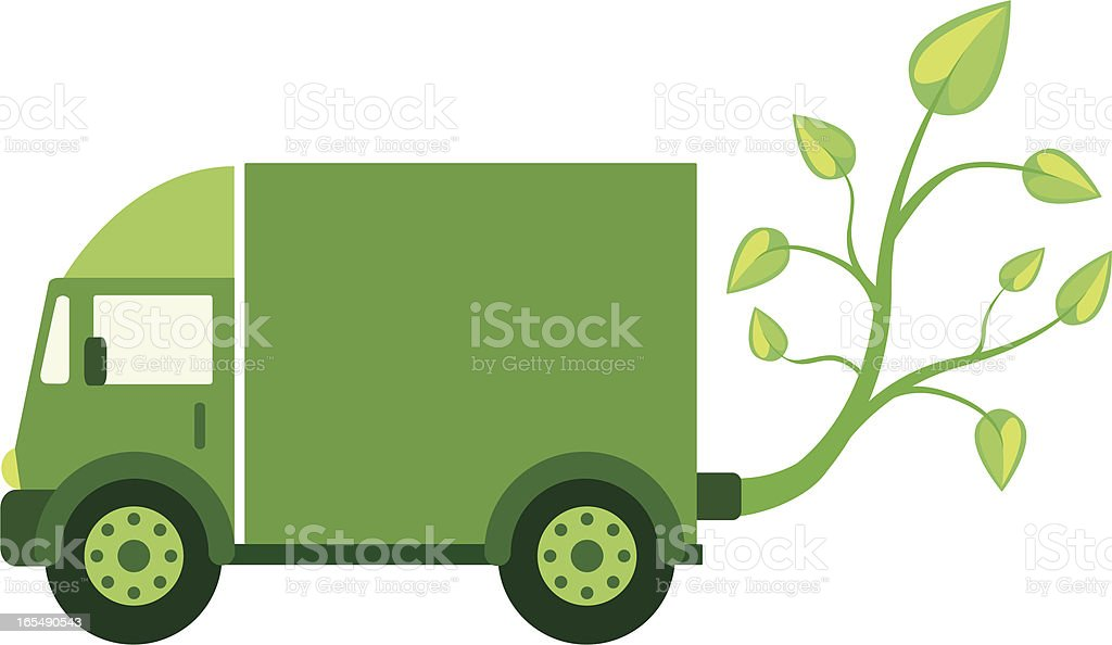 Green Eco Truck royalty-free stock vector art