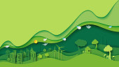 Ecology and environment conservation creative idea concept design.Green eco urban city and nature landscape background paper art style.Vector illustration.