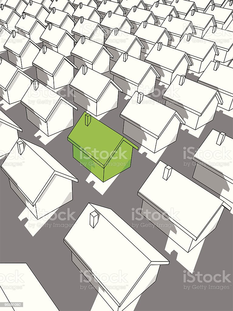 "green ""ecological"" house standing out from others royalty-free stock vector art"