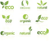Nine organic icons suitable for ecological topics. This file is saved in EPS10 format.