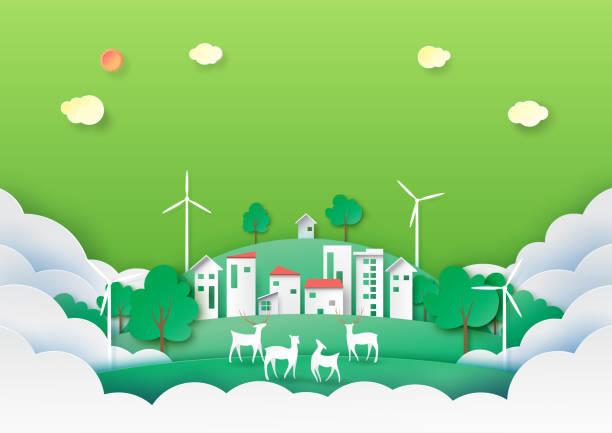grünen ökologie und natur landschaft hintergrund papier kunst-stil. - klimaschutz stock-grafiken, -clipart, -cartoons und -symbole