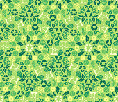 Green Ecology Background Made of Eco Icons. Vector Seamless Pattern. Wind and Solar Energy. Green Technologies.