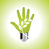 Green ecology bulb in open hands