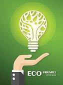 Green ecology bulb on hand, vector