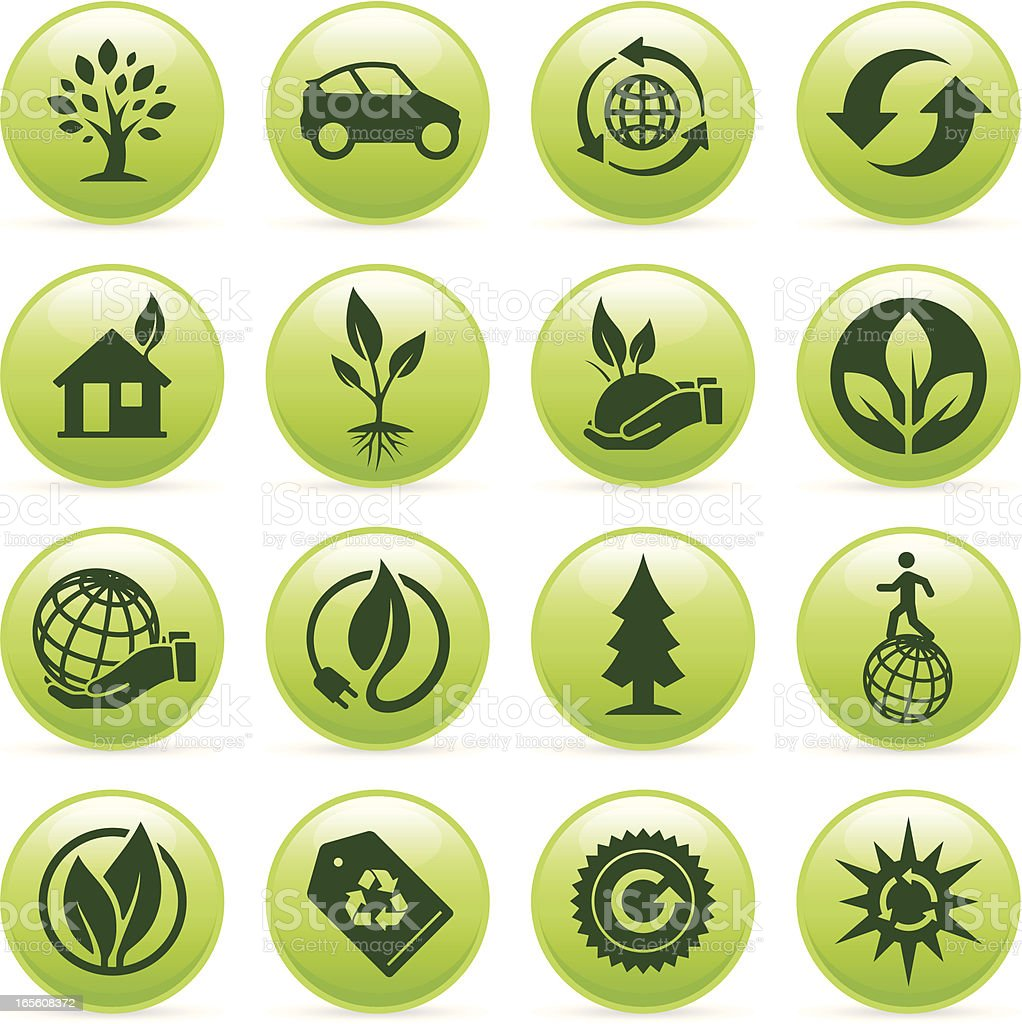 Green Ecology Buttons II royalty-free green ecology buttons ii stock vector art & more images of adult