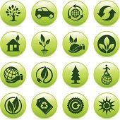 Green ecology and environmental buttons.
