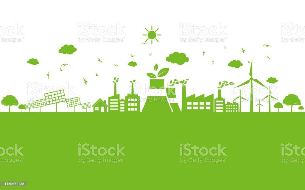Grön ekologi stad miljö vänlig - Royaltyfri Alternativ vektorgrafik