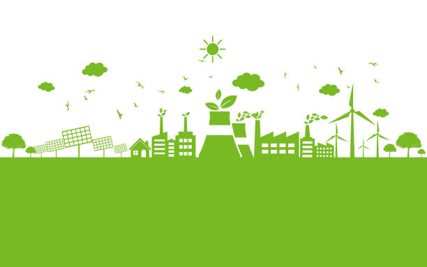 illustrazioni stock, clip art, cartoni animati e icone di tendenza di green ecology city environmentally friendly - climate change
